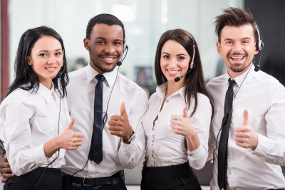 young four people working in a call center
