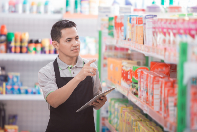 man checking products